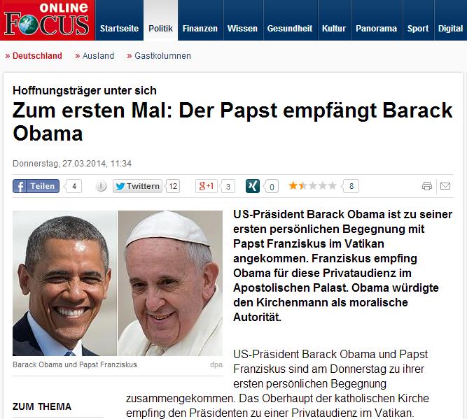Hoffnungsträger unter sich  Zum ersten Mal  Der Papst empfängt Barack Obama   Deutschland   FOCUS Online   Nachrichten