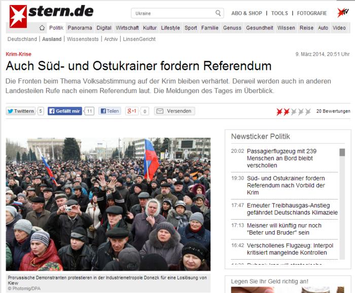 Krim Krise  Auch Süd  und Ostukrainer fordern Referendum   Politik   STERN.DE