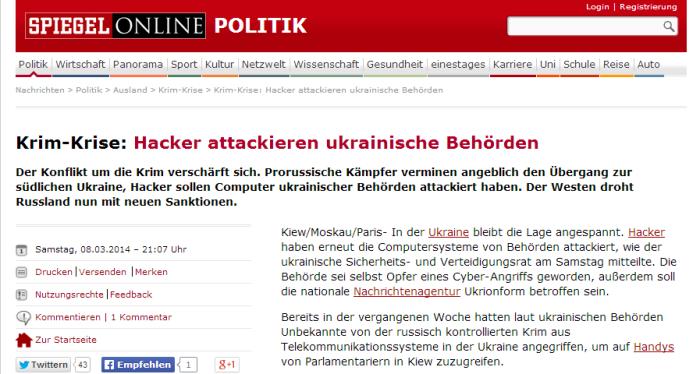Krim Krise  Hacker attackieren ukrainische Behörden   SPIEGEL ONLINE