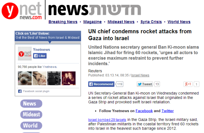 UN chief condemns rocket attacks from Gaza into Israel   Israel News  Ynetnews