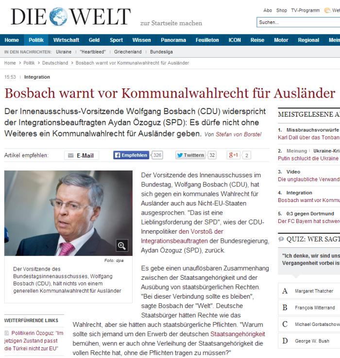 Integration   Bosbach warnt vor Kommunalwahlrecht für Ausländer   Nachrichten Politik   Deutschland   DIE WELT