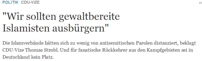 CDU Vize    Wir sollten gewaltbereite Islamisten ausbürgern    Nachrichten Politik   Deutschland   DIE WELT